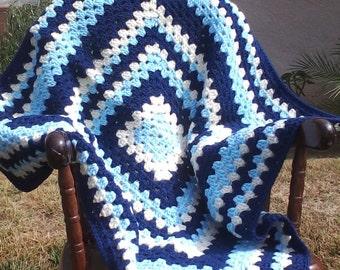 Blue Baby Blanket...Granny Square