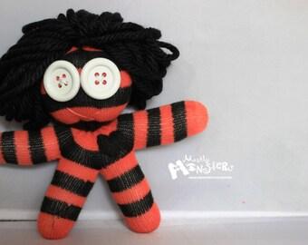 HooDooYooLove Glove Doll ...Salmon & Black  Stripes black heart Zombie Baby Cousins