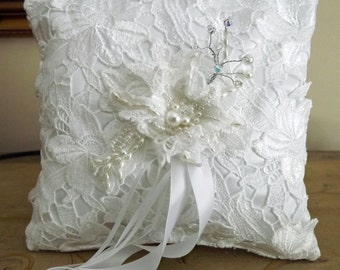 White Wedding Ring Bearer Pillow, Lace Ring Pillow, Ring Bearer, Wedding Cushion, Bridal Pillow