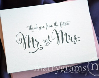 Bridal Shower Thank You Cards -Wedding, Newly Engaged Couple's Shower Card-Thanks From the Future Mr. & Mrs. Fancy, Pink Shimmer (50ct) CS07