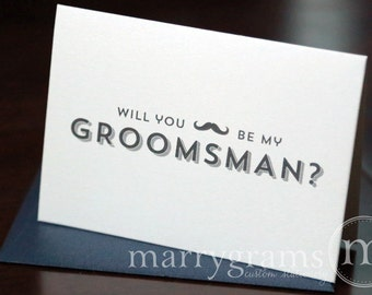 Will You Be My Groomsman Card, Best Man, Usher, Ring Bearer- Fun Wedding Cards for Groom to Ask Groomsmen, Stache Mustache Guys (Set of 8)