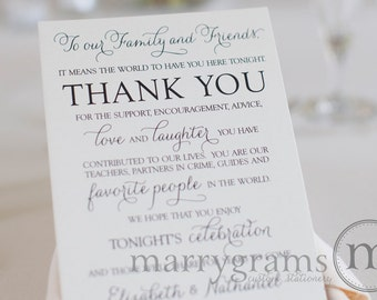 Wedding Reception Thank You Card to Your Guests - To Our Friends and Family -Reception, Seating Thank You Note Card (Set of 100) SS01