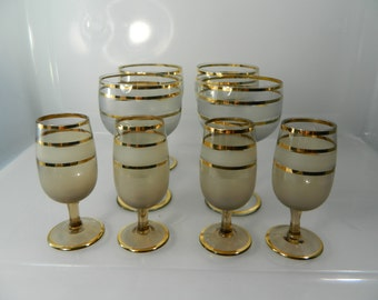 Vintage Gold Striped Bohemian Bar Glasses Wine Glasses Mid Century Cordial and Shot Glasses