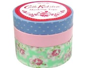 Japanese Washi Masking Tape Set - Cath Kidston X Mark's 2012 - Green - 3 rolls - 20mm & 10mm Wide - 13 yards (each roll)