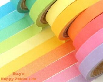 Japanese Washi Masking Tape Set - Rainbow Narrow Tape Set - 7mm wide - 5.5 Yards (each roll) - 10 rolls