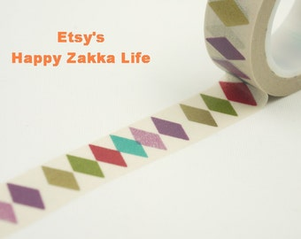 Colorful Rhombus with Cream - Japanese Washi Masking Tape -  11 Yards
