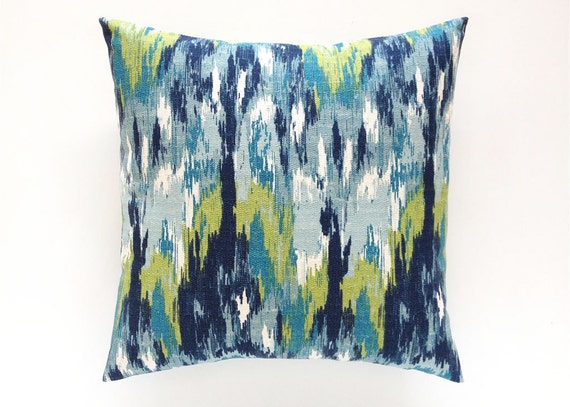 Navy And Teal Throw Pillows: Ikat Decorative Pillow Cover. Teal Navy Aqua By