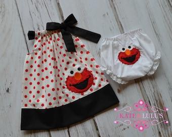Elmo Birthday dress with matching bloomers- Elmo Dress - Girls Birthday Dress