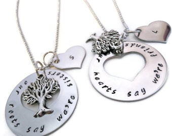 Set of two sister necklaces two sister necklaces for matching sister necklaces necklace set for sisters sister jewelry our roots say we mozeypictures Image collections