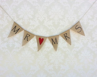 Mr and Mrs Burlap Banner with Red glittered heart