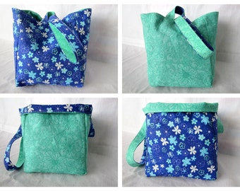 Knitting Project Bag/Crochet Project Bag (reversible wristlet) in blues and greens with flowers
