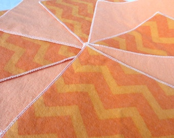 Diaper Wipes/Flannel Wash Cloths/Flannel Cloth Diaper Wipes for Baby, Orange Chevron (10)