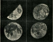 1901 Moon Phases Astronomy Prints, Set of 2