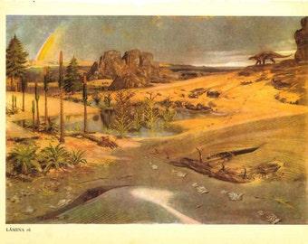 Vintage Print Prehistoric Landscape, Triassic Paleontology Reconstruction Illustration
