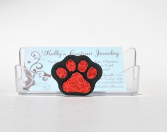 Paw Print Business Card Holder.  Glitter.  Pet Business