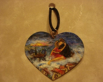 Heart Shaped Original Miniature Oil Painting Pendant Necklace By Matiko Mamaladze