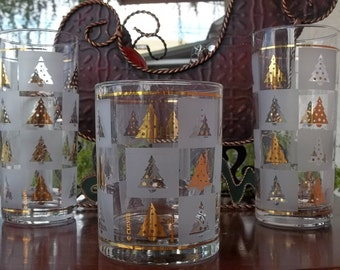 Vintage Culver Christmas Trees Glassware, Barware