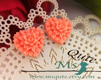 Heart and rose stud earrings -  Salmon pink