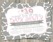 Safari Animals invitation, typography baby shower invitation, pink and gray, digital, printable file
