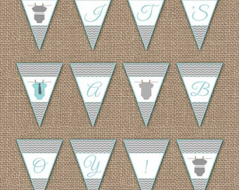 Onesie Baby Shower Banner, It's a boy, digital PDF file, printable banner, instant download