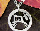 Fireman Maltese Cross Necklace custom numbers, hand cut coin, firemen