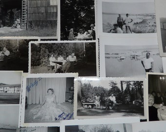 Lot 23 Vintage 1950s Photos Summer Picnic Prom Dress Family Dinners Lake Vacation Girls Men Women Kids Black and White Photographs Snapshots