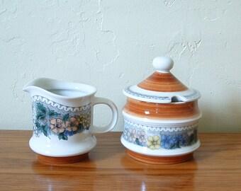 Vintage Goebel Burgund Creamer Sugar Bowl With Lid Floral Germany