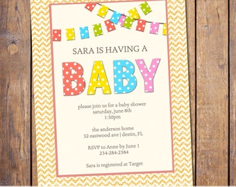 gender neutral baby shower invitation with banner, rainbow colored baby shower digital, printable file (item23)