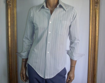 Vintage 1970's Monte Carlo Grey & White Dress Shirt - Size Medium
