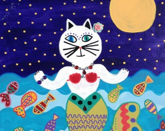 Kerri Ambrosino Mexican Folk Art PRINT Cats Mermaid Ocean Fish Beach Moon