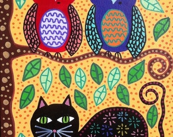 Kerri Ambrosino Mexican Folk Art PRINT Black Cat and Owl Friends Tree Yellow Sunny Day Happy