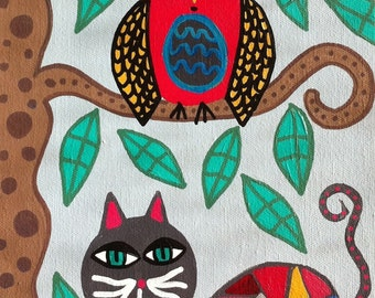 Kerri Ambrosino Mexican Folk Art PRINT Black Talavera Cat and Owl Friends Tree Blue Skies