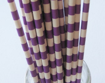25 Paper Purple and White Ringed Straws - Free Printable Straw Flags