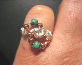 "Silver Tone and Copper ""In Orbit"" Ring - Color Choices"