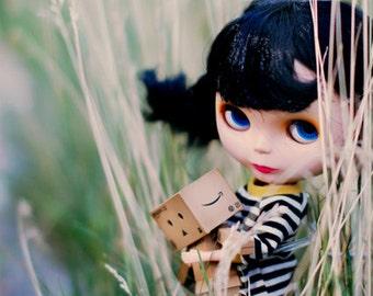 Miss yo Black & White Stripes long T-shirt for Blythe doll - doll outfit