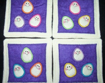 Primitive Whimsical SILLY EASTER EGGS Coasters Mug Mats Hot Pads Trivets