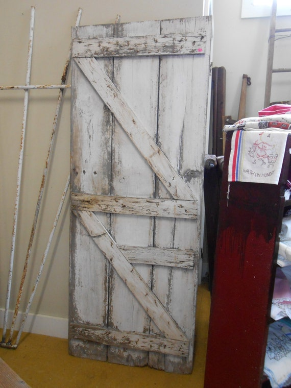 Antique White Barn Door Indiana Farm House Headboard Salvaged