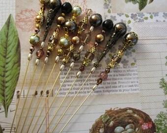 Retro Stickpins - Decorative pins - Scrapbook embellishments - Card making Pins - Mini Albums