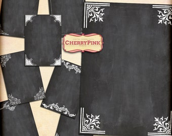 CHALKBOARD scrapbooking paper supply, printable collage sheet, jpg premade page, digital download for scrapbooking and craft