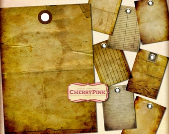 Antique Tags, tattered printable tags, old vintage blank tag, digital download for crafting