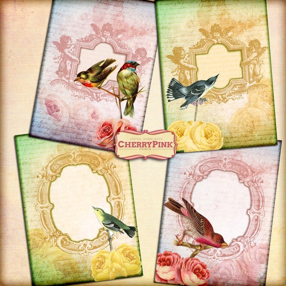 BIRDS craft printable supply, printable collage sheet, jpg premade page, digital download for scrapbooking and craft