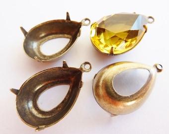 4 prong settings, 18x13mm, pear, bronze