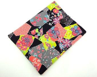 SALE Unique iPad Sleeve - Kimono iPad 4 Case - Padded Tablet case - Japanese Cotton Fabric Plum Blossom chrysanthemum Black