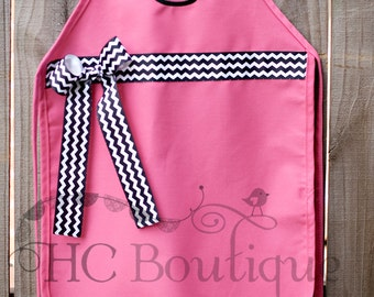 Personalized Child's Apron with Ribbon and Bow- Chevron