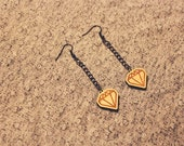 Maple Wood Mini Heart of Diamond Dangle Earrings by Cre8tivesoul