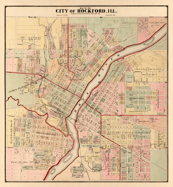 rockford map old map of rockford illinois fine by ancientshades. Black Bedroom Furniture Sets. Home Design Ideas