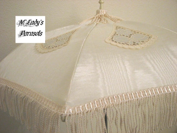 VICTORIAN PARASOL Umbrella with Vintage French Cut Out Appliques on Ivory Moire Taffeta with Ivory Fringe