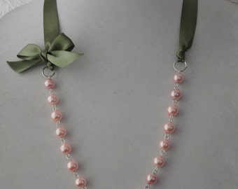 Pink Pearl and Sage Green Ribbon Bow Necklace