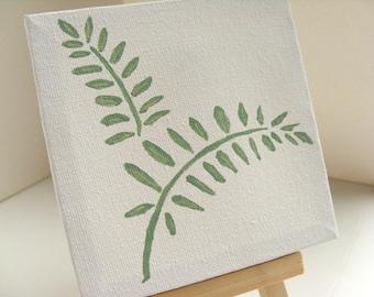 "Fern Leaf Miniature Painting - 4""x4"" canvas original painting, spring green ferns, nature painting, nature art, language of flowers"