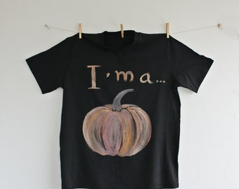 Pumpkin Hand Painted Tshirt Black XXL Unisex, Halloween